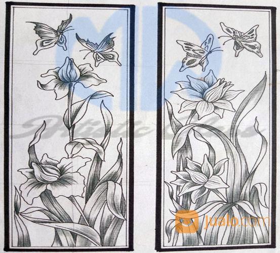 Kaca Lukis Motif Bunga - Kumpulan Montase, Kolase dan Mozaik