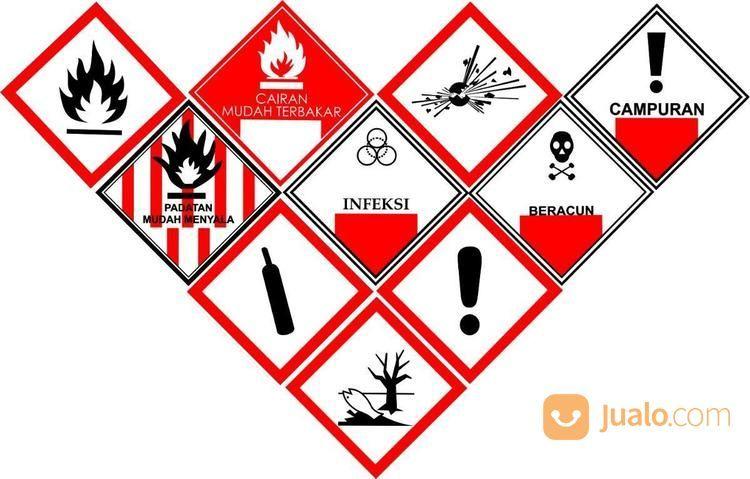 Sticker Safety Sign K3 Cairan Mudah Terbakar Padatan Campuran Beracun 30 Cm Bekasi Jualo