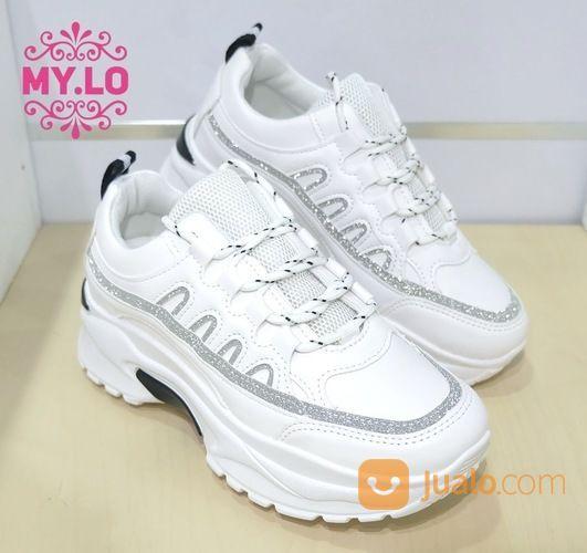 Sepatu Putih Casual Kets Sneaker Wedges Import Mylo Ms12a95