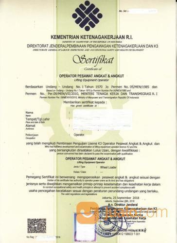 Pembuatan Dan Perpanjangan Izin Operator Loader Dan Whell Loader (18962375) di Kota Bekasi