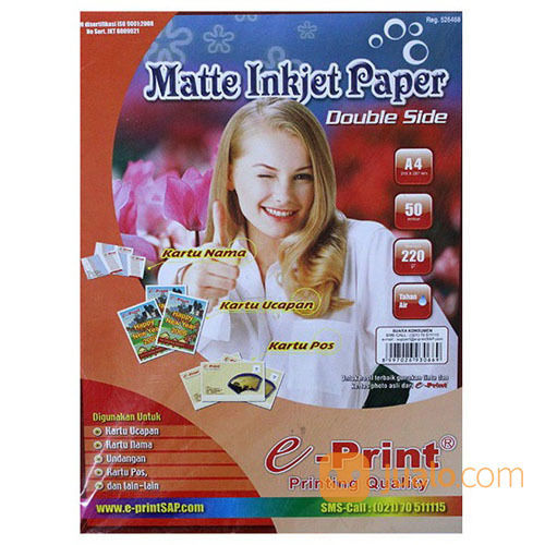 Kertas Foto Double Side Matte Inkjet Paper A4 220 Gsm (19503443) di Kab. Banjarnegara