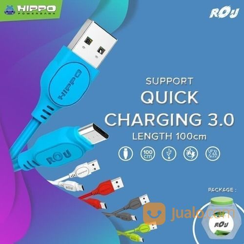 Kabel Hippo Rou Micro 100 Cm Data Charger Support Quick Charge 3.0 (19581679) di Kota Surakarta