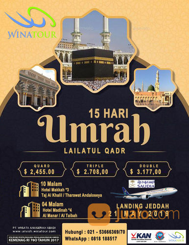 Umroh Lailatul Qadr 15 Hari 21 May 2019 Landing Jeddah (19647575) di Kota Jakarta Pusat