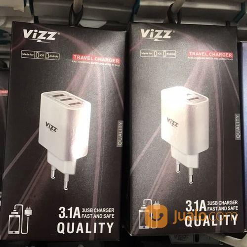 Charger VIZZ VZ139 3.1A 3USB Smart IC Fast Kabel Micro 1M (19649115) di Kota Surakarta
