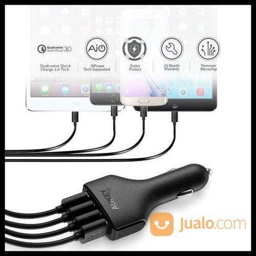 Aukey QC 3.0 Car Charger 4-USB Port Gratis Kabel USB (20005699) di Kota Jakarta Utara