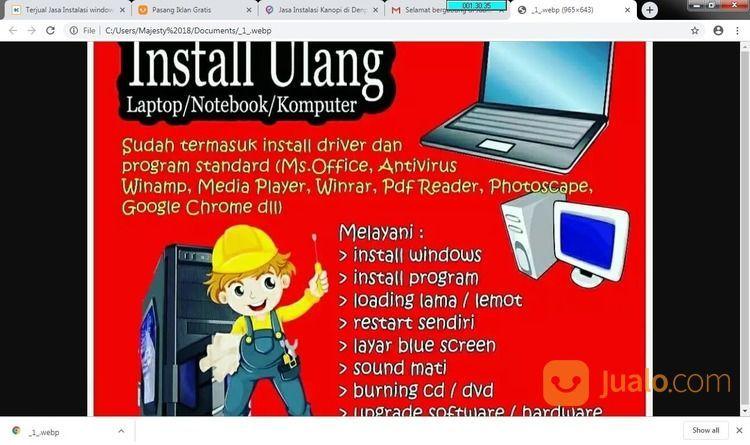 Jasa Instal Ulang Laptop Komputer Pc Panggilan Denpasar (20207771) di Kota Denpasar