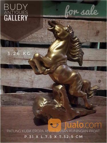 Patung Kuda Antik Eropa Bahan Kuningan Padat