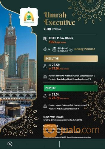 Paket Ekslusive Rp. 26.5jt Umroh 9 Hari Alindra Haqeem Travel (20580663) di Kota Jakarta Selatan