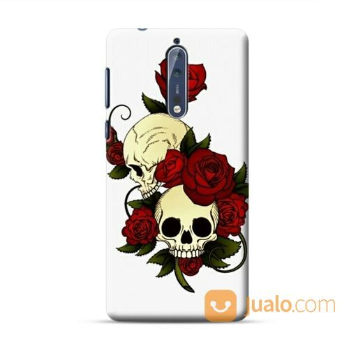 Skulls And Roses Nokia 8 Custom Hard Case (20585699) di Kota Bekasi
