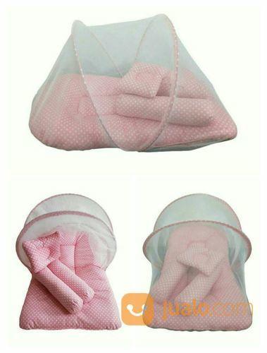 IND MAKASSAR | Kasur Bayi Dengan Kelambu Pink Polkadot (20733415) di Kota Makassar