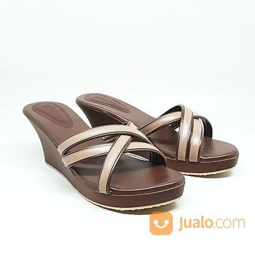 Sandal Sendal Cewe Wanita Kayu Mahoni Wedges Arunni Selop Kelom (21013859) di Kota Sukabumi