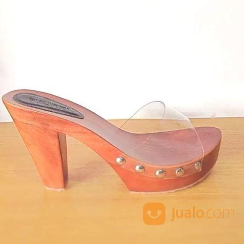 Sandal Sendal Cewe Wanita Kayu Mahoni Arunni Kelom Selop Heels (21045015) di Kota Sukabumi