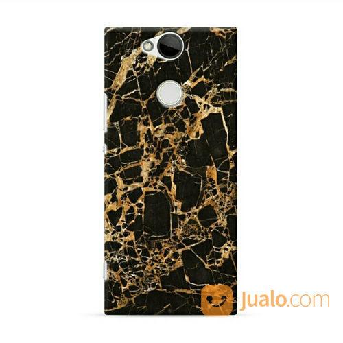 Gold Textured Black Marble Sony Xperia XA2 Custom Hard Case (21072607) di Kota Bekasi