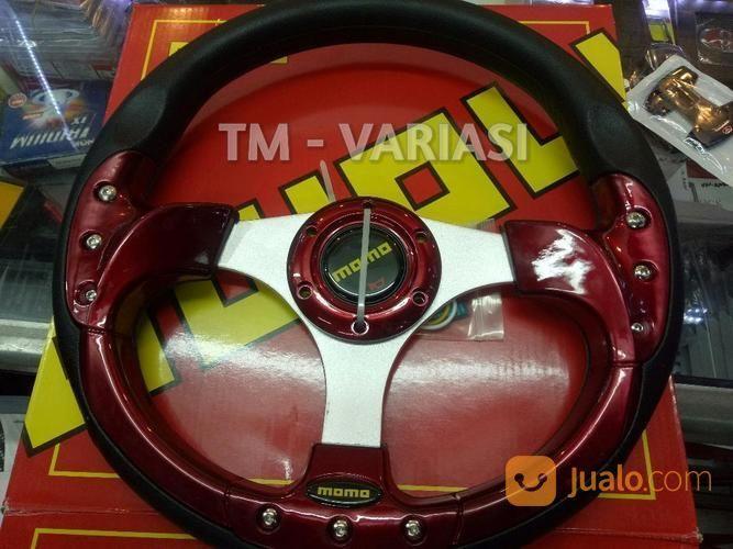 Stir Racing Momo 13 Inchi Import Merah Motif Rendah Baut Palang Silver Universal (21250727) di Kota Jakarta Pusat