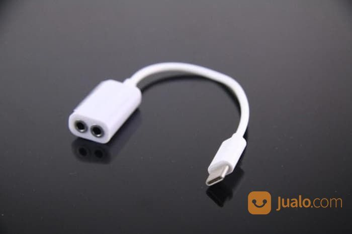 Splitter Audio 2 In 1 Kabel Konektor Type C To 2x Audio 3.5mm Jack AUX