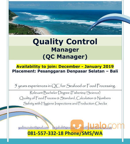 Quality Control Manager For Fishery Fishfood Bali Denpasar Jualo