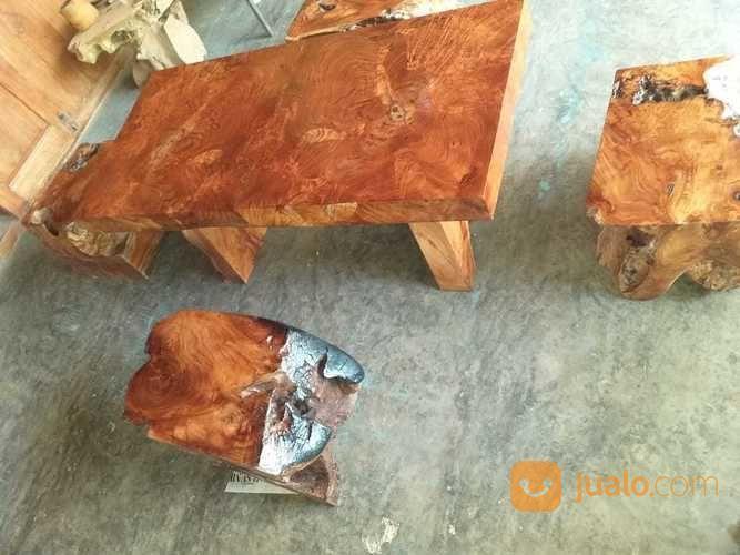 Meja Dan Kursi Unik Full Kayu Jati 1 Set Surabaya Jualo
