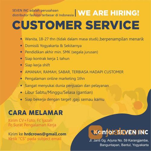 Lowongan Kerja Customer Service Seven Inc Yogyakarta Jualo