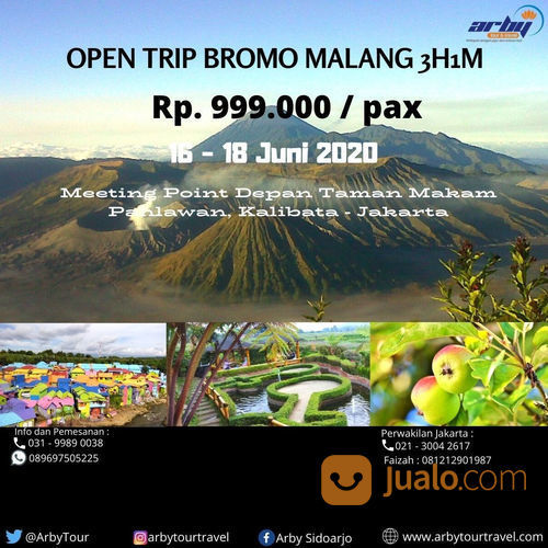 OPEN TRIP MURAH BROMO BATU MALANG SURABAYA DARI JAKARTA (FASILITAS LENGKAP) (23639087) di Kab. Sidoarjo