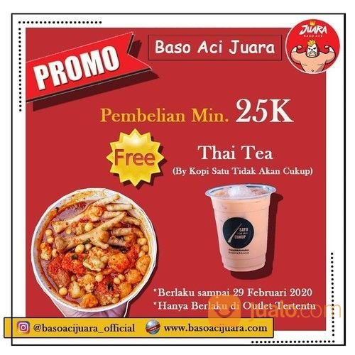 Baso Aci Juara Promo Gratis Ice Thai Tea Tiap Makan Minimal Rp. 25 Ribu! (23750555) di Kota Jakarta Selatan