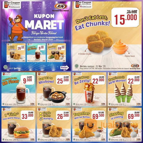 A&W Restaurant Promo Kupon Hemat Maret, Diskon Hingga 50%! (23860087) di Kota Jakarta Selatan