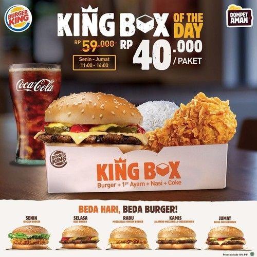 Burger King Promo Spesial Menu King Box Of The Day, Harga Rp. 40.000! (23888139) di Kota Jakarta Selatan