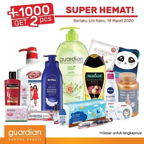 Katalog Promo Guardian Hemat 2 Mingguan, Tambah Rp. 1.000 Dapat 2! Cek Di Sini Diskonnya (23931679) di Kota Jakarta Selatan