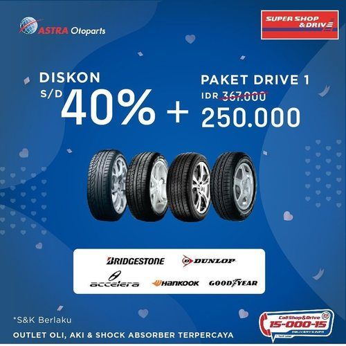 Promo Diskon Ban Mobil s.d 40% dan Paket Drive 1 di Super Shop&Drive (24011439) di Kota Jakarta Selatan