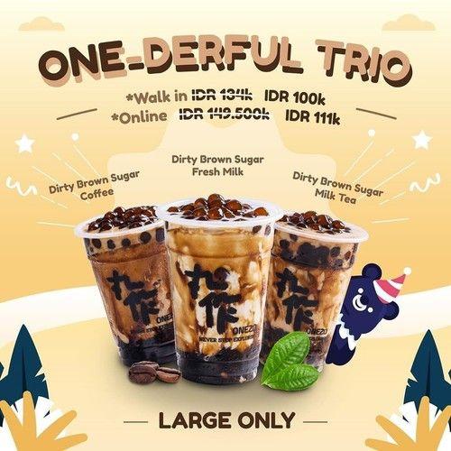 OneZo Promo Onederful Trio, 3 Minuman Large Hanya Rp. 100 Ribu! (24017295) di Kota Jakarta Pusat