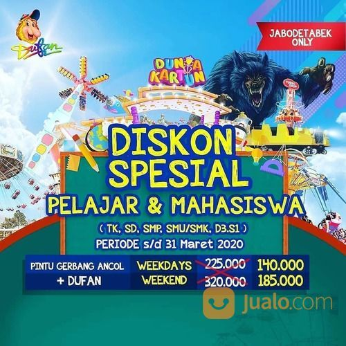 Dufan Dunia Fantasi Diskon Pelajar & Mahasiswa (24038419) di Kota Jakarta Selatan