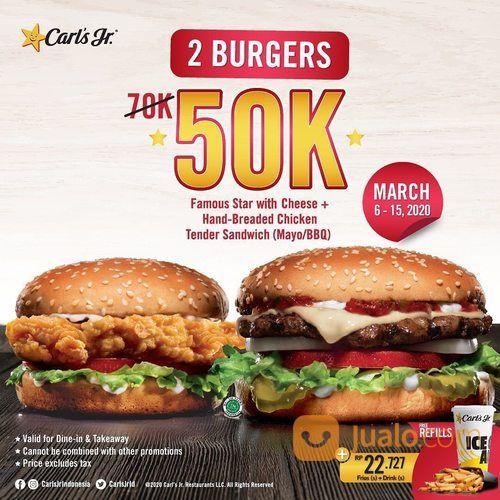 Carls Jr Promo 50K For 2 Burgers (24040091) di Kota Jakarta Selatan