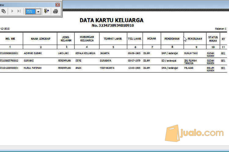 Aplikasi Penduduk Rt Rw Semarang Jualo