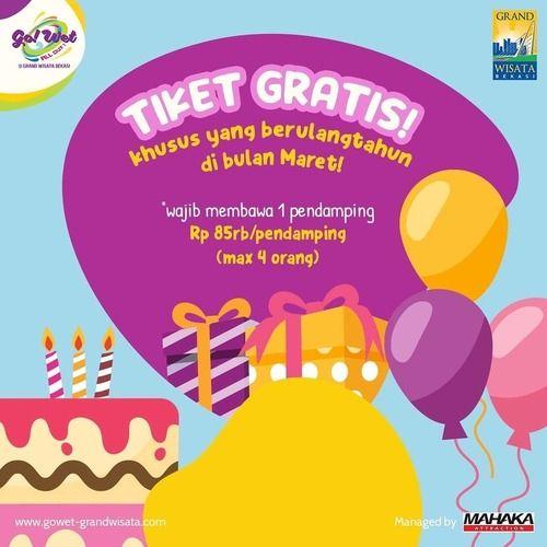 Go! Wet Grand Wisata Promo Ulang Tahun Maret 2020 (24109871) di Kota Jakarta Selatan