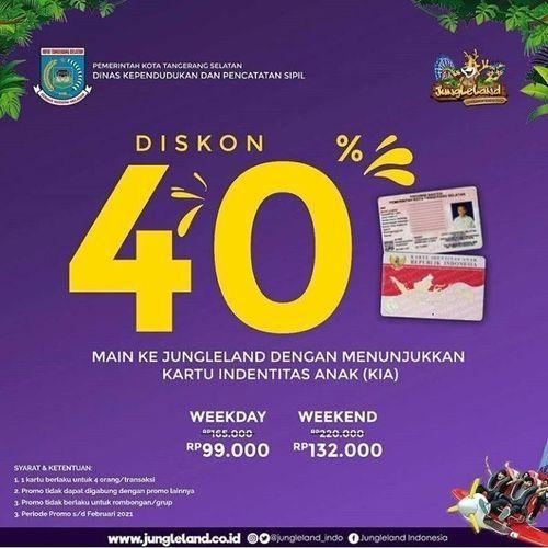JungleLand Promo Diskon 40% Dengan Kartu Identitas Anak (24115971) di Kota Jakarta Selatan