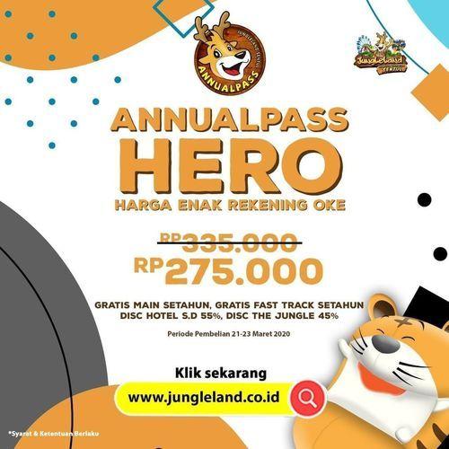 JungleLand Annual Pass HERO Harga Enak Rekening Oke 275.000 (24116135) di Kota Jakarta Selatan