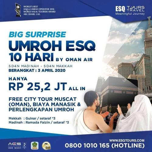 ESQ Tours Umrah 10 Hari Rp 25,2Jt ALL IN Berangkat 3 April 2020 (24146207) di Kota Jakarta Selatan