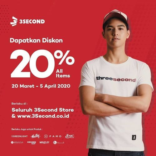 3Second Diskon 20% Offline and Online! (24556915) di Kota Jakarta Selatan