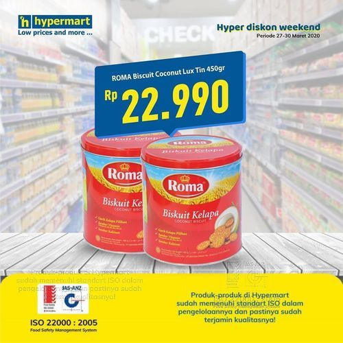 Hypermart Roma Biscuit Coconut Less Tin Promo (24832151) di Kota Jakarta Selatan
