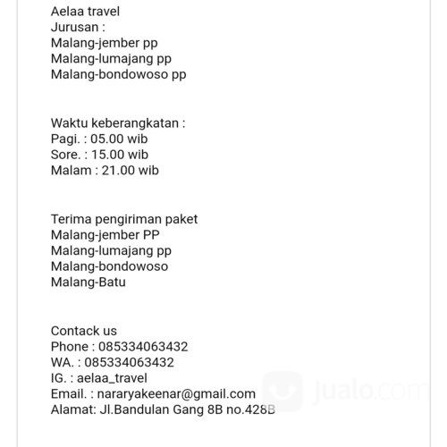 Travel Malang,Agen Travel Malang,Travel Murah,Travel Jember (24964483) di Kota Malang
