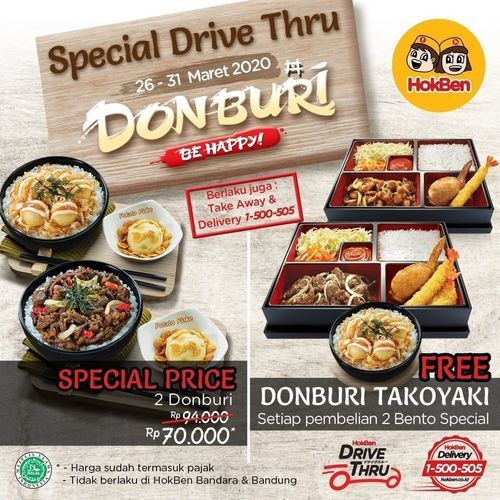 HokBen Promo Donburi Drive Htur Take Away & Delivery (25079979) di Kota Jakarta Selatan