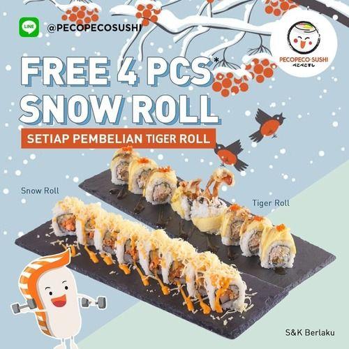 Peco Peco Sushi Promo Free 4pcs Snow Roll (25138503) di Kota Jakarta Selatan