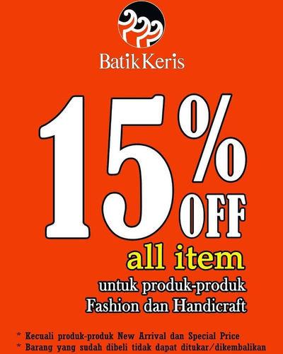 Batik Keris 15% Off All Item (25297219) di Kota Jakarta Selatan