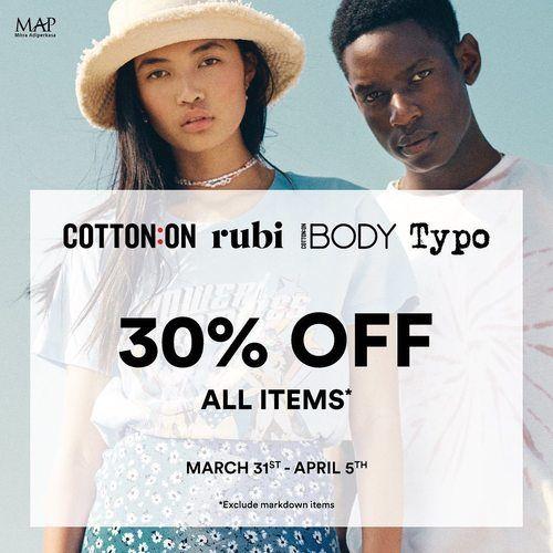 Cotton On RUBI iBody Typo Promo Diskon 30% ALL ITEMS* (25310591) di Kota Jakarta Pusat