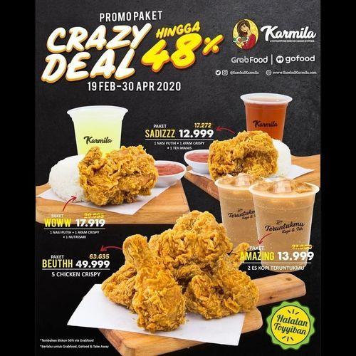 Sambal Karmila Promo Paket Diskon up to 48% via GrabFood dan GoFood (25464843) di Kab. Bandung