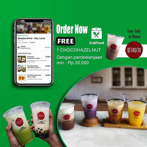 Qitaqita Drink Free 1 Chocohazelnut min. pembelian Rp 30.000 via GrabFood (25496539) di Kota Jakarta Selatan