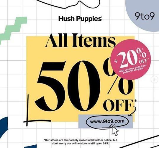 Hush Puppies discount 50% + 20% untuk semua product (25499699) di Kota Jakarta Selatan