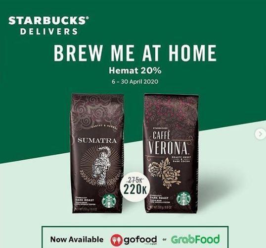 Starbucks Promo Discount 20% dengan Gofood atau Grab (25537491) di Kota Jakarta Selatan