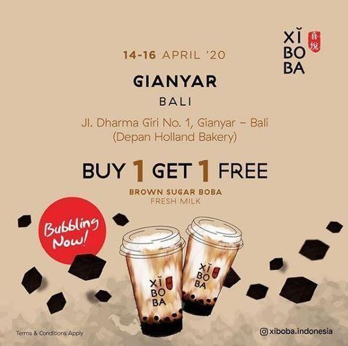 Opening Promo BUY 1 GET 1 XIBOBA GIANYAR BALI Free Brown Sugar Boba Fresh Milk (25640107) di Kab. Gianyar