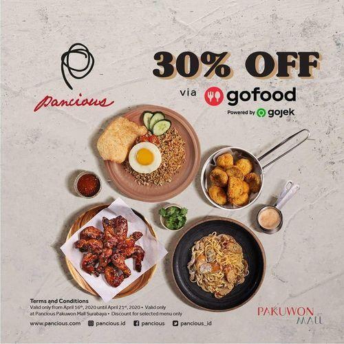 Pancious Diskon 30% Off Gofood (25648263) di Kota Surabaya