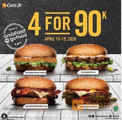 Carls Jr Promo 4 For 90K via grabfood/gofood (25655987) di Kota Jakarta Selatan